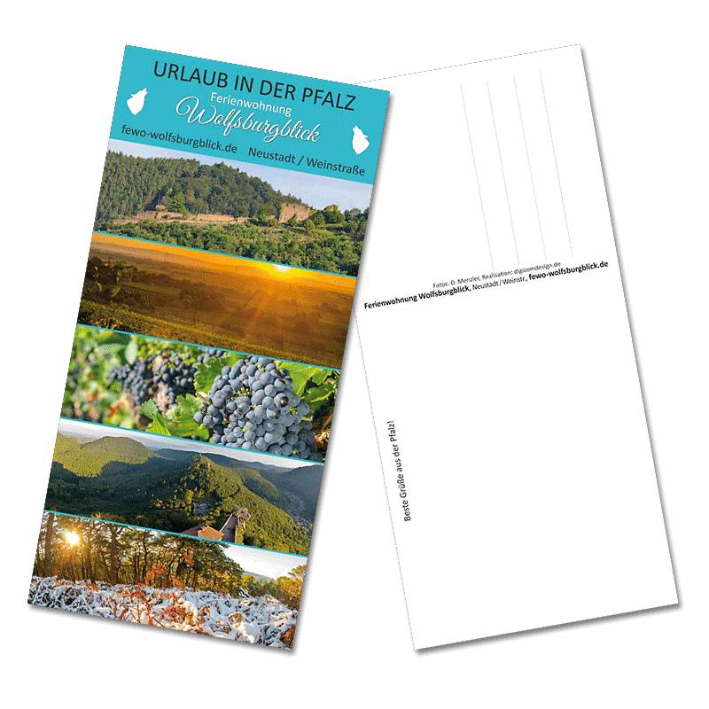 Postkarten-Design ohne Fewo-Beschreibung, nur Webadresse, Name und Ort werden genannt