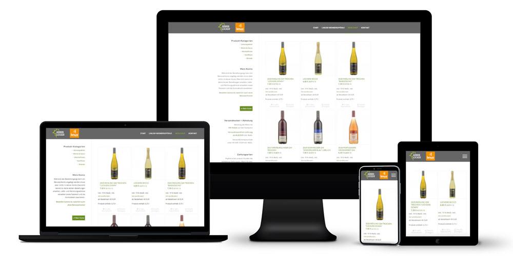 Wein-Shop: Online-Auftritt, Shop-Entwicklung, Konzeption + Gestaltung von Etiketten und Werbemedien, Marketing